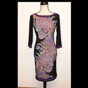 INC Petite P/P black paisley long sleeve dress